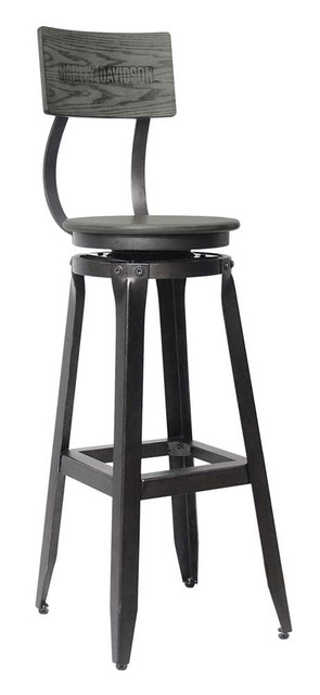 Harley-Davidson Bar & Shield Wood Backrest Bar Stool, Ash Gray Wood HDL-12212 - Wisconsin Harley-Davidson