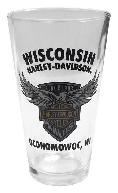 Harley-Davidson 115th Anniversary Wisconsin H-D Pint Glass, 16 oz. PGCUS25823 - Wisconsin Harley-Davidson