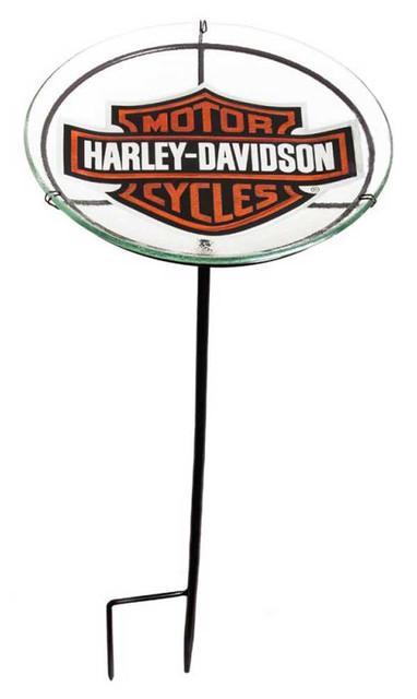 Harley-Davidson Bar & Shield Glass Staked Birdbath, 11 x 11 x 24 inches 2SGB4900 - Wisconsin Harley-Davidson