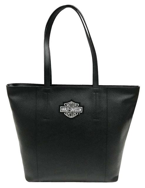 Harley-Davidson Women's Bar & Shield Travel Leather Tote Bag, Black 99516-BLACK - Wisconsin Harley-Davidson