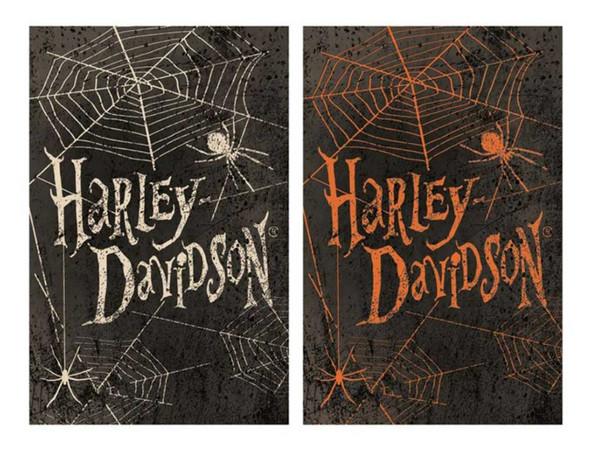 Harley-Davidson Halloween Spider Webs Garden Flag - Double Sided 14S4914BLS - Wisconsin Harley-Davidson