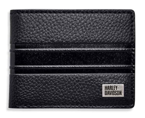 Harley-Davidson Men's Embossed Stripe Bi-Fold Leather Wallet 99433-18VM - Wisconsin Harley-Davidson