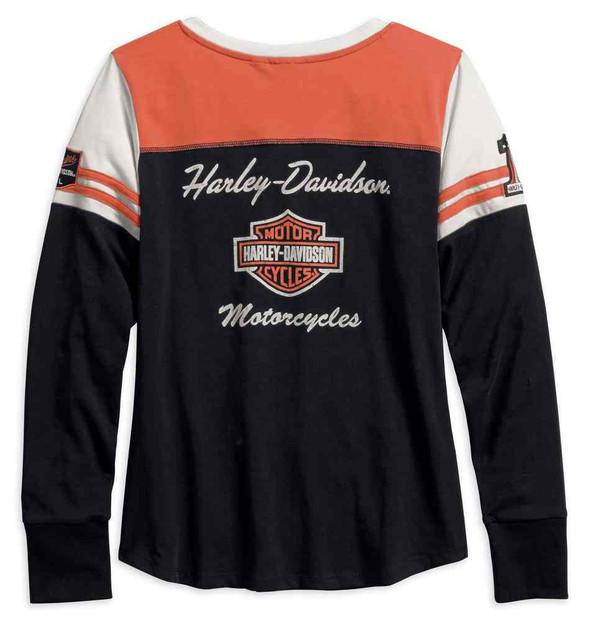 Harley-Davidson Women's Classics Colorblocked Long Sleeve Henley 99075-18VW - Wisconsin Harley-Davidson