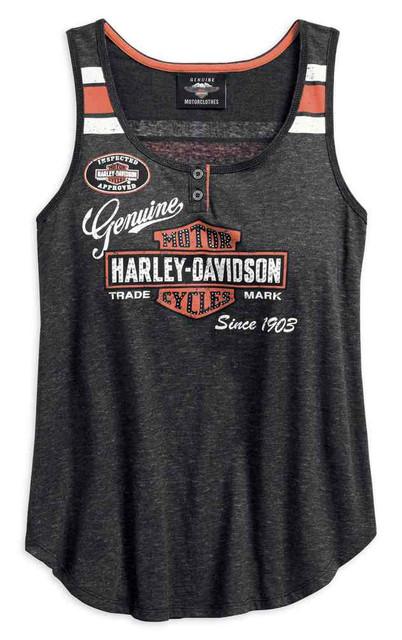 Harley-Davidson Women's Genuine Oil Can Sleeveless Tank Top, Black 99069-18VW - Wisconsin Harley-Davidson