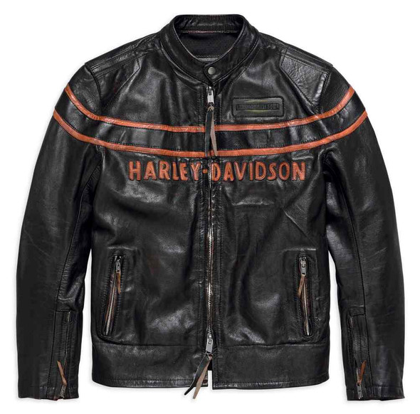Harley-Davidson Men's Double Ton Slim Fit Leather Jacket, Black 98033-18VM - Wisconsin Harley-Davidson