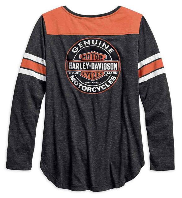 Harley-Davidson Women's Genuine Oil Can Long Sleeve Henley, Black 99070-18VW - Wisconsin Harley-Davidson