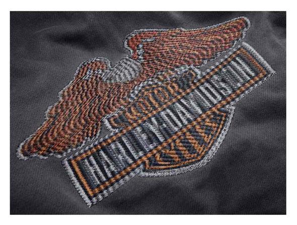 Harley-Davidson Men's Eagle Logo Slim Fit Zippered Hoodie, Steel Gray 99089-18VM - Wisconsin Harley-Davidson