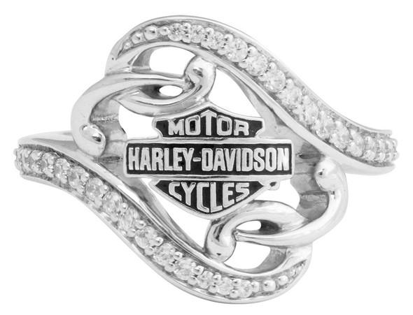 Harley-Davidson Women's Bling Filigree Bar & Shield Ring, Silver Finish HDR0473 - Wisconsin Harley-Davidson