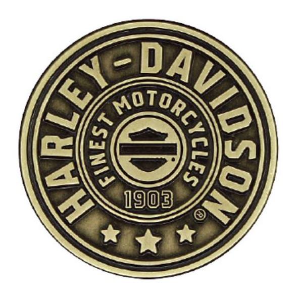 Harley-Davidson 2D Die Cast Harley Shield Pin, Antiqued Bronze Finish P278682 - Wisconsin Harley-Davidson
