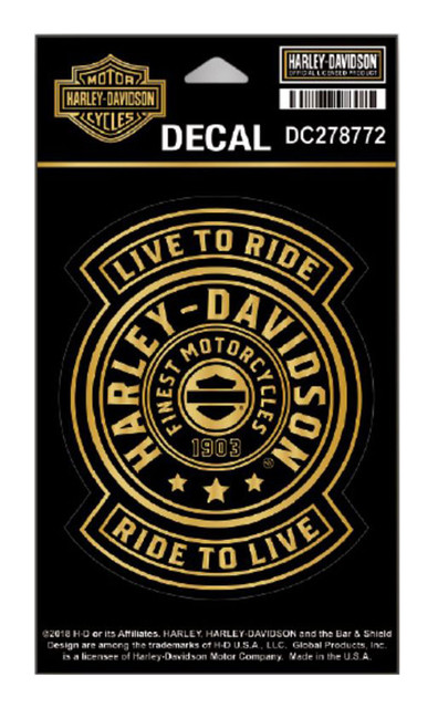 Harley-Davidson Gold Harley Shield Decal, SM Size - 3.75 x 4.75 in DC278772 - Wisconsin Harley-Davidson
