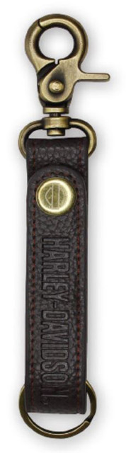 Harley-Davidson Embossed H-D Brown Leather & Brass Accent Keychain KY51668 - Wisconsin Harley-Davidson
