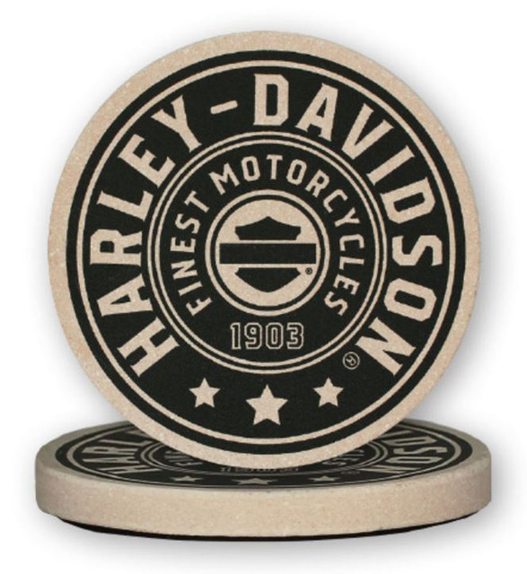 Harley-Davidson Harley Shield Sandstone Coaster Set, Two Pack 4 inch Set CS27812 - Wisconsin Harley-Davidson