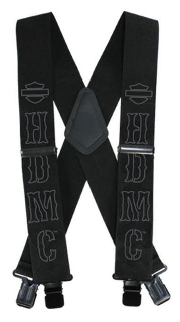 Harley-Davidson Men's HDMC Black Suspenders, Long Size 48 Inch SUS27675 - Wisconsin Harley-Davidson