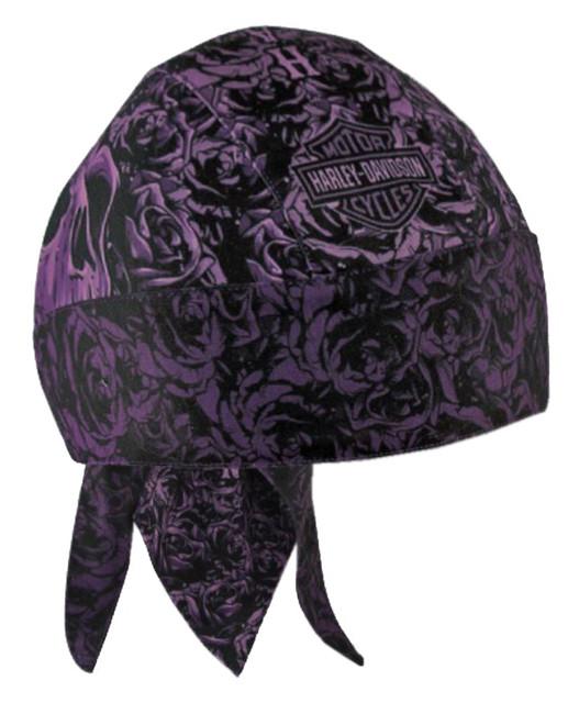 Harley-Davidson Women's Rebel Rider Roses Headwrap, Purple & Black HW27269 - Wisconsin Harley-Davidson