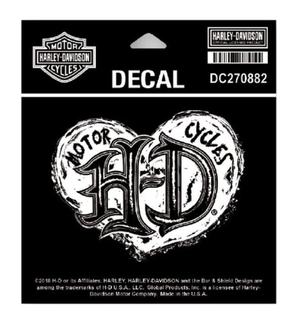 Harley-Davidson Grunge Heart Decal, SM Size - 4.125 x 3.125 in DC270882 - Wisconsin Harley-Davidson