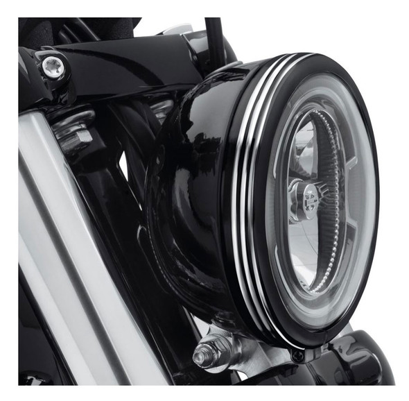 Harley-Davidson 5.75in. Defiance Headlamp Trim Ring - Black Machine Cut 61400430 - Wisconsin Harley-Davidson