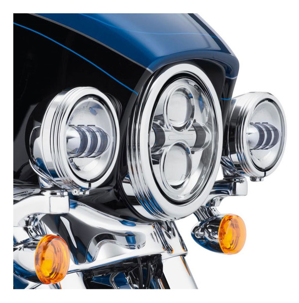 Harley-Davidson 4in. Defiance Auxiliary Lamp Trim Rings - Chrome Finish 61400353 - Wisconsin Harley-Davidson