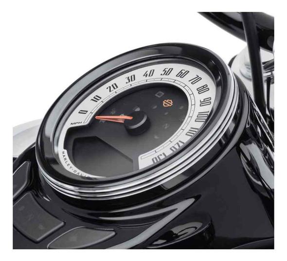 Harley-Davidson 4 in. Defiance Tank Gauge Bezel - Black Machine Cut 61400436 - Wisconsin Harley-Davidson