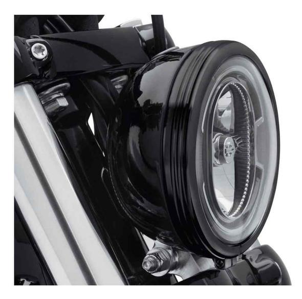 Harley-Davidson 5.75 in. Defiance Headlamp Trim Ring - Black Anodized 61400431 - Wisconsin Harley-Davidson
