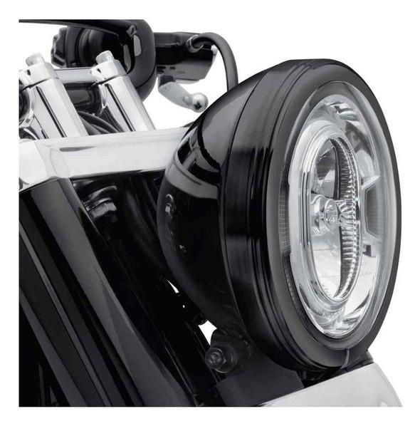 Harley-Davidson 7 in. Defiance Headlamp Trim Ring - Black Finish 61400434 - Wisconsin Harley-Davidson