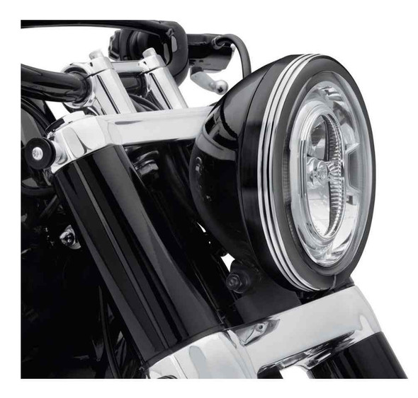 Harley-Davidson 7 in. Defiance Headlamp Trim Ring - Black Machine Cut 61400433 - Wisconsin Harley-Davidson