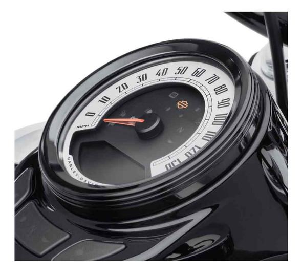 Harley-Davidson 4 in. Defiance Tank Gauge Bezel - Black Anodized 61400437 - Wisconsin Harley-Davidson