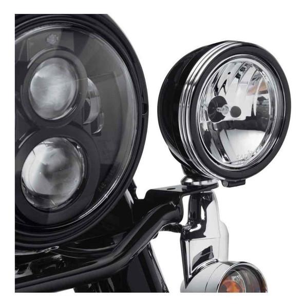 Harley-Davidson 4in. Defiance Auxiliary Lamp Trim Rings - Black Machine 61400355 - Wisconsin Harley-Davidson