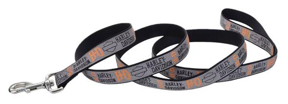 Harley-Davidson 5/8 in. Ribbon Bar & Shield Nylon Leash - 6 ft. Gray H6476HLG06 - Wisconsin Harley-Davidson