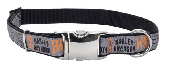 Harley-Davidson 5/8in Adjustable Ribbon Pet Collar - SM & MD 18 in. H6471HHLG18 - Wisconsin Harley-Davidson