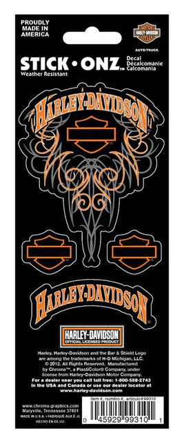 Harley-Davidson Bar & Shield H-D 4-Piece Decal Set Stickers, Orange CG99310 - Wisconsin Harley-Davidson