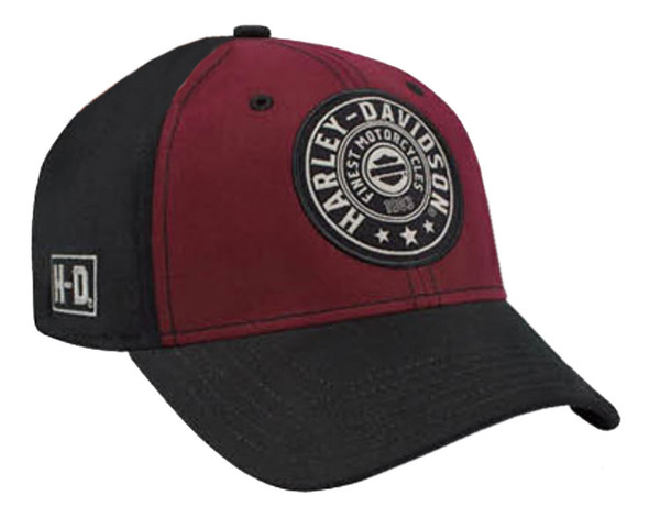 Harley-Davidson Men's Embroidered Harley Shield Baseball Cap, Red/Black BCC27881 - Wisconsin Harley-Davidson
