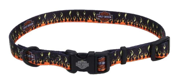 Harley-Davidson Adjustable Flames Bar & Shield Dog Collar - Black & Orange - Wisconsin Harley-Davidson