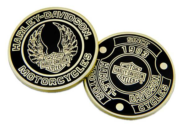 Harley-Davidson Heritage Bar & Shield Challenge Coin, 1.75in, Black/Gold 8008604 - Wisconsin Harley-Davidson