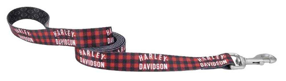 Harley-Davidson 1 in. Plaid & Shield Muscle Dog Leash - 6 ft. Red H3096HPLG06 - Wisconsin Harley-Davidson
