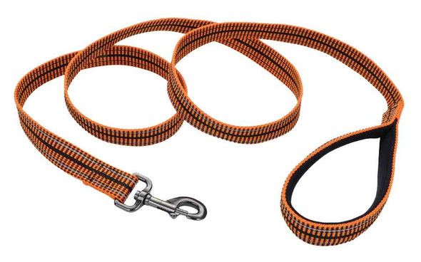 Harley-Davidson Reflective Knitted Rugged Premium Dog Leash - 6 ft. Orange - Wisconsin Harley-Davidson
