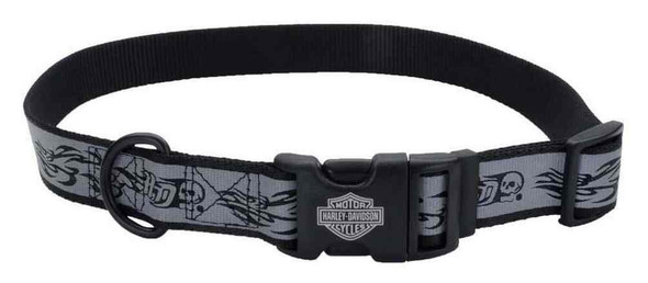 Harley-Davidson Adjustable Reflective Skull & Flames Dog Collar - Gray - Wisconsin Harley-Davidson