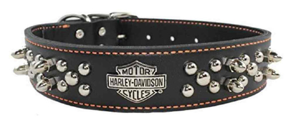 Harley-Davidson 1.5 in. Adjustable Double Row Spiked Leather Dog Collar - Black - Wisconsin Harley-Davidson
