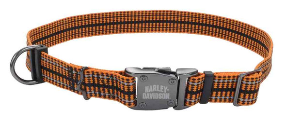 Harley-Davidson Adjustable Reflective Rugged Knitted Dog Collar - Orange - Wisconsin Harley-Davidson