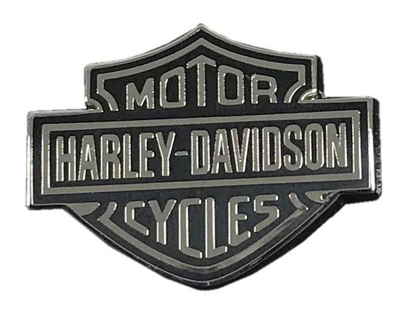 Harley-Davidson Bar & Shield Metal Emblem Pin, Black & Silver, 1 x 0.75 inch - Wisconsin Harley-Davidson