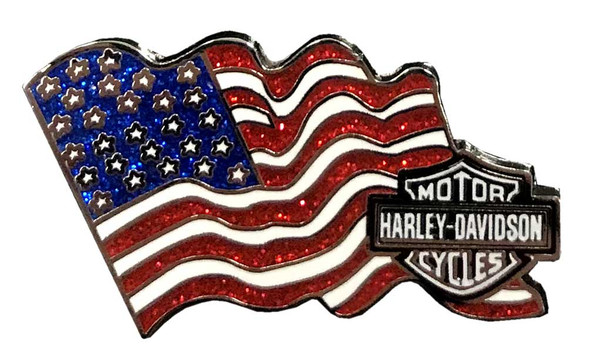 Harley-Davidson American Flag Metal Pin with Bar & Shield, 1.75 x 1 inch 51991 - Wisconsin Harley-Davidson