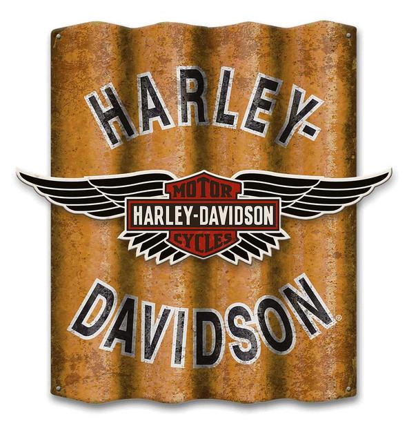 Harley-Davidson B&S Winged Cut-Out Corrugated Aluminum Sign A25-COR-MDFCU-HARL - Wisconsin Harley-Davidson