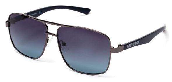 Harley-Davidson Men's H-D Metal Navigator Sunglasses, Shiny Gunmetal & Blue Lens - Wisconsin Harley-Davidson