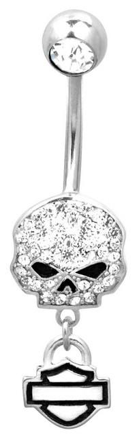 Harley-Davidson Women's Belly Jewel, Bling Willie G Skull, Silver HDZ0057 - Wisconsin Harley-Davidson