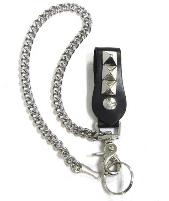 Mascorro Leather Studded Keychain Fob with Metal Biker Chain Blk Leather K18-PY - Wisconsin Harley-Davidson