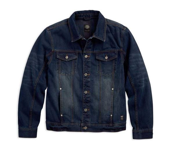 Harley-Davidson Men's Brushed Denim Trucker Jacket, Slim Fit, Blue 97445-18VM - Wisconsin Harley-Davidson