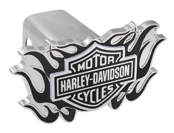 Harley-Davidson 3D B&S Logo Flames Emblem Trailer Hitch Cover, 2 Inch HDHC336-K - Wisconsin Harley-Davidson