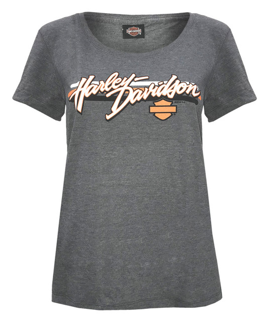 Harley-Davidson Women's Sporty H-D Script Short Sleeve Scoop Neck Tee, Charcoal - Wisconsin Harley-Davidson