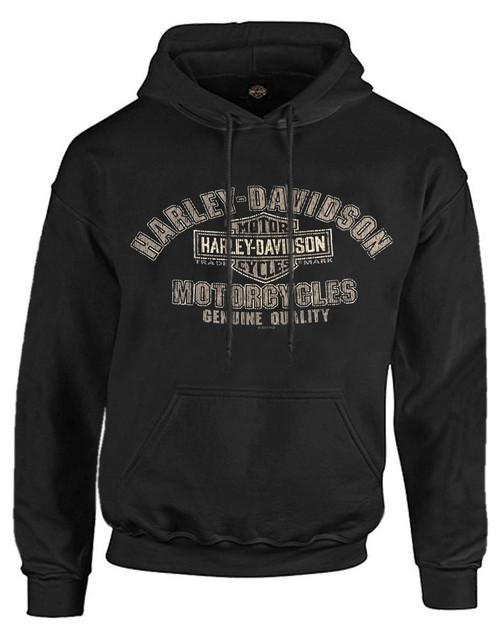 Harley-Davidson Men's Distressed Look Genuine Name Pullover Hoodie Black R002323 - Wisconsin Harley-Davidson