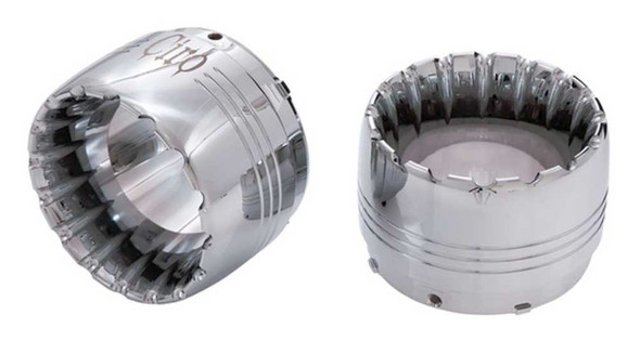 Ciro Billet Jet Muffler Pair Tips w/ Machined Accents, Chrome or Black Finishes - Wisconsin Harley-Davidson