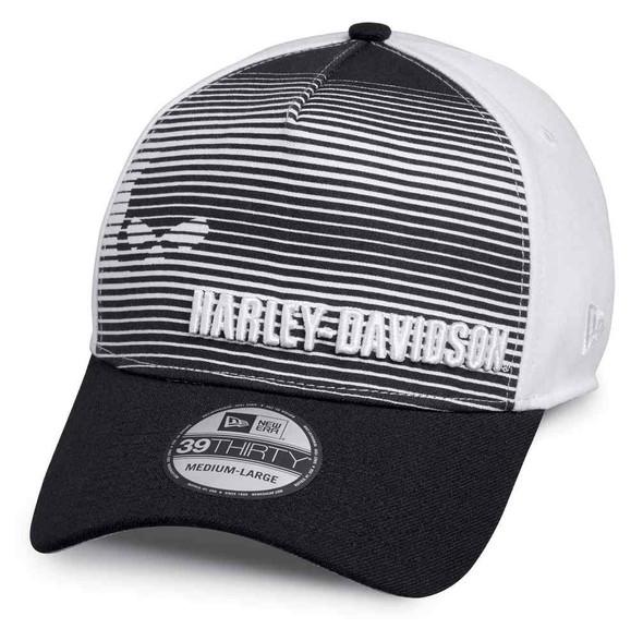 Harley-Davidson Men's Skull Striped 39THIRTY Baseball Cap, Blk & Wht 97646-18VM - Wisconsin Harley-Davidson